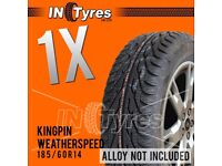 1x 185/60r14 Kingpin Weather Speed 1856014 Banger Racing Autograss Rally Tyres