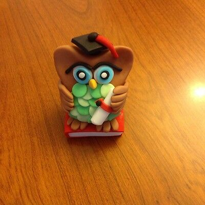Edible fondant cake topper Graduation Owl