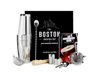 Andrew James Luxury Boston Cocktail Set 10 Piece With Cocktail Book And Gift Box