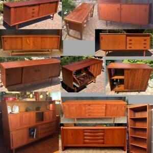 REFINISHED Mid Century Modern Teak, Walnut, Rosewood Sideboards TV Media Record Consoles Buffets Shelving from $400