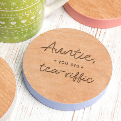 Personalised Best Auntie Gift Wood Coaster Xmas Christmas Birthday Present