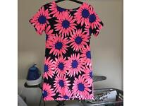 Cameo Rose/New Look Bright Pink Flower Shift Dress - Size 12