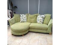 4 seater pillow back lounger in lime green fabric