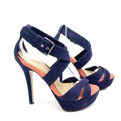 Bershka Women's Sandal Stiletto High Heel Suede Shoes Blue Buckle Strappy EU 36, używany na sprzedaż  Wysyłka do Poland