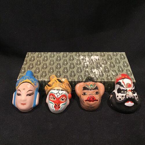 SET OF 4 Vintage Chinese Ceramic Mask Beijing Opera Miniature Hand Painted