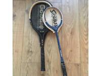 Two retro badminton and squash rackets