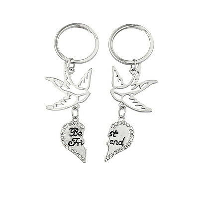 Lux Accessories Silvertone Dove Best Friends Keychain Set