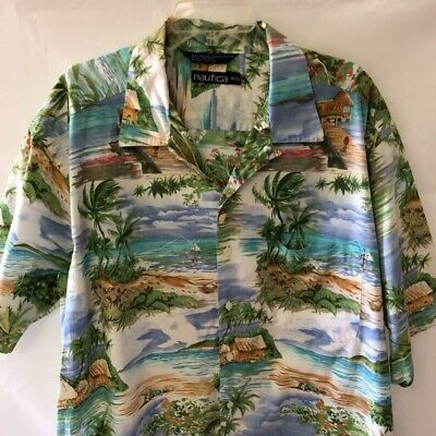 Nautica Mens Hawaiian Shirt Multicolor Short Sleeve 100% Cotton Point Collar XL