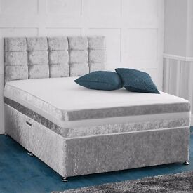 "❤FLAT 70% OFF❤ BRAND NEW ""PREMIUM"" CRUSHED VELVET DIVAN BED WITH 9"" THICK SEMI ORTHOPEDIC MATTRESS"