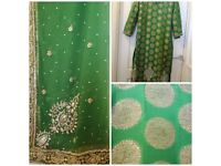 Green shalwar kameez heavy embroidery, size 10/12