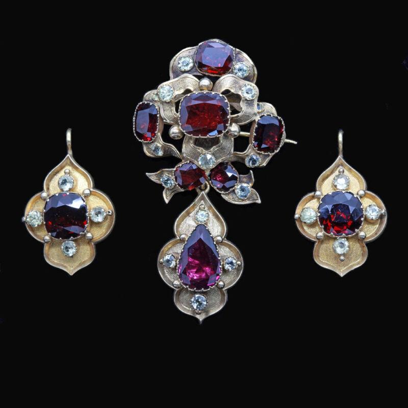 Antique Victorian Earrings Brooch Pendant Set Gold Garnet Gem Holbeinesque(6734)