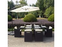 Rattan 6 Seater Cube Outdoor Dining Set in Black