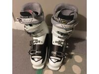 Nearly new (worn once) women's Nordica 25.5 (UK 6.5) ski boots, white/ chocolate, worth £169