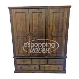Handmade Sandra 3 Door + 5 Drawer Wardrobe Solid Pine Jakoben Wax (Assembled) ANY COLOUR/ SIZE