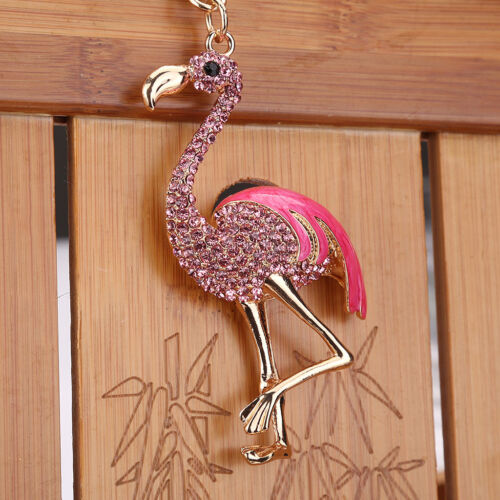 Fashion Cute Key Ring Flamingo Key Chain Gift Bag Alloy Rhin