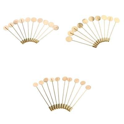 10pcs Stick Pin Boutonniere Suit Lapel Tie Hat Scarf Blank Tray Pad DIY Glue On
