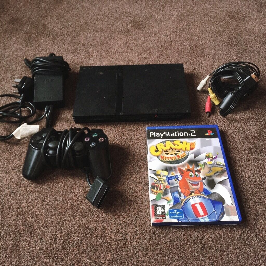 PLAYSTATION 2 SLIMLINE PS2 & CRASH BANDICOOT & MEMORY CARD & CONTROLLER COMPLETE WORKING CONDITION