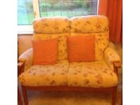 Floral sofa and a pair of matching chairs