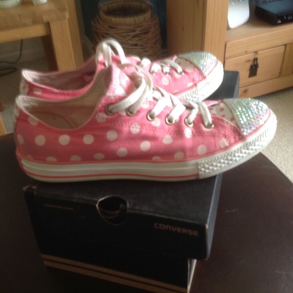 42c992cd3d39e7 Ladies older girls pink converse blinged up trainers