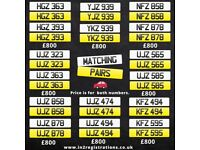 Matching pairs of Short NI Number Plates from £800 -Cherished Personal Private Registration plates.
