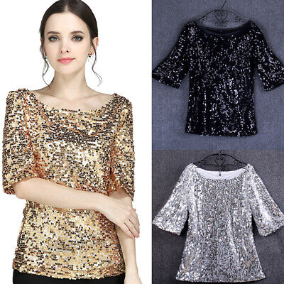 Fashion Women Sequins Sparkle Coctail Party Casual Top Blouse Crop Tops Shirt US