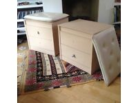 Two Bedside Cupboards - solid handmade - with cushions for use as seats