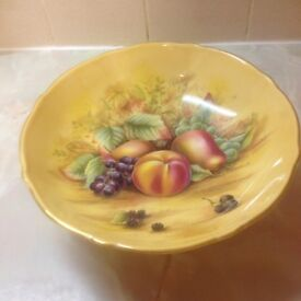 ANSLEY ORCHARD GOLD LARGE 10 INCH BOWL WITH GOLD RIM- EXCELLENT CONDITION