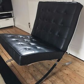 Black Barcelona style chair (after Mies Van Der Rohe)