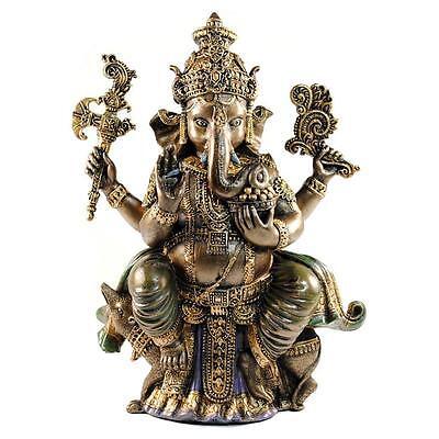 "GANESHA STATUE 8"" Cold Cast Resin GOOD QUALITY Hindu Elephant God NEW Ganesh"