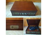 Modern retro style record player with mp3 (USB or sd) and radio
