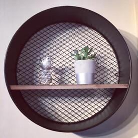 40cm Industrial Grey Metal Wall Unit With One Wooden Shelf