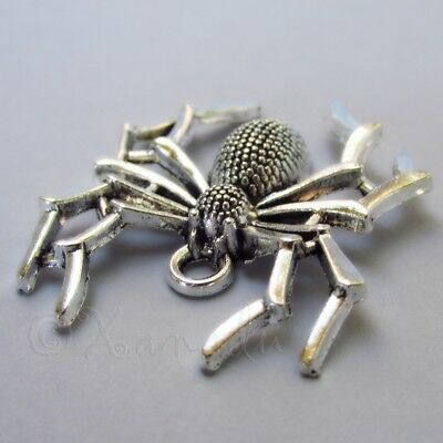 Halloween Mm (Halloween Spider 35mm Antiqued Silver Plate Charm Pendants C2269 - 2, 5 Or)