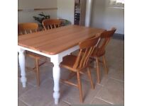 Solid Pine Table & Chairs ( Immaculate Condition as EX Showroom)