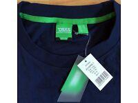 Plain Mid Navy Blue Round neck T-Shirt Casual Short Sleeve Top 1XL