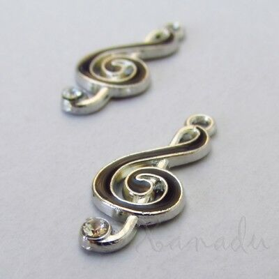 Music Clef Note Charms - 22mm Silver Plated Enamel Charms C6490 - 5, 10, (Enamel Music Note)