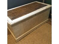 Antique Oak Wooden Blanket Box or Toy Chest for Shabby Chic Interior