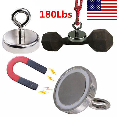180lbs Fishing Magnet Neodymium Super Strong Retrieving Treasure Hunt Pull Force