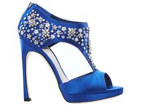 NEW Authentic Dior blue satin beaded heels RRP £750