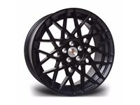 "x4 18"" Stuttgart ST10 Alloy Wheels 5x100 Et35 Black Audi TT A3 VW Golf Bora"