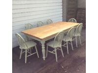 Farmhouse table and 8 chairs Huge 7ft