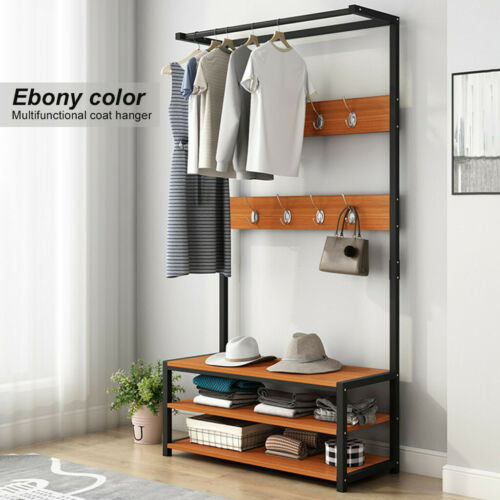 Industrial Coat Rack Shoe Bench Hall Tree Entryway Home Shelf with 9 Hooks