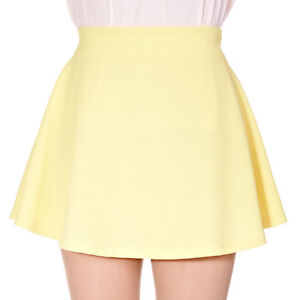 Basic-Solid-Pastel-Color-Elastic-Waist-Full-Flared-Circle-Skater-Mini-Skirt