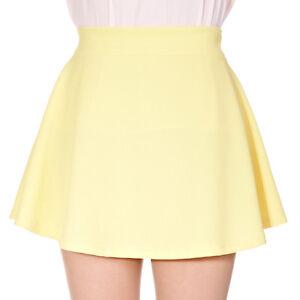 Basic-Solid-Pastel-Color-Elastic-Waist-Full-Flared-Circle-Skater-Mini-Skirt
