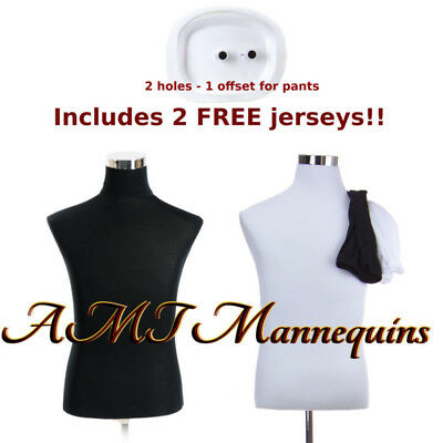 Male torso +stand, mannequin dress form, +2covers- white /black Torso-MH-BH102