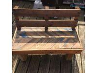 Handmade child's outdoor wooden seat/bench