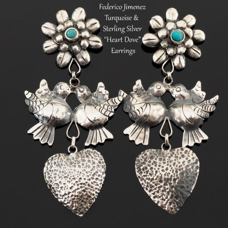 "FEDERICO JIMENEZ Earrings Turquoise ""Dove Heart"" Sterling Silver FRIDA KHALO"