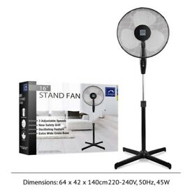 "16"" Oscillating Adjustable Height Stand Fan (3 Blades) with Safety Grill Design BLACK (1)"
