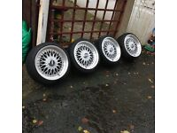 "Bbs split rim style alloy wheels with streched tyres BMW Vauxhall Volkswagens 17"" set of four"