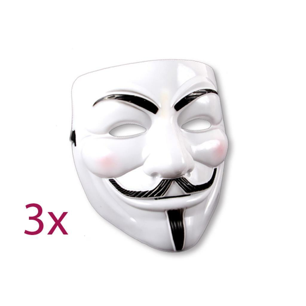 3x V wie Vendetta Maske Mask Guy Fawkes Anonymous Karneval Kostüm