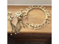 1939 wax orange blossom bridal headdress and flowers